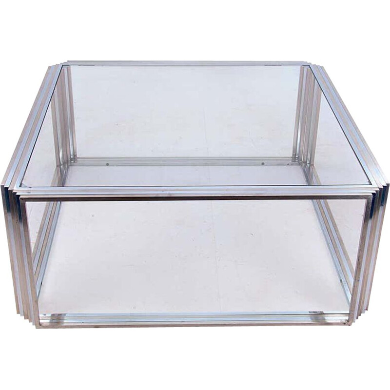 Large Vintage Coffee Table in Chrome and Brass by Romeo Rega, 1970