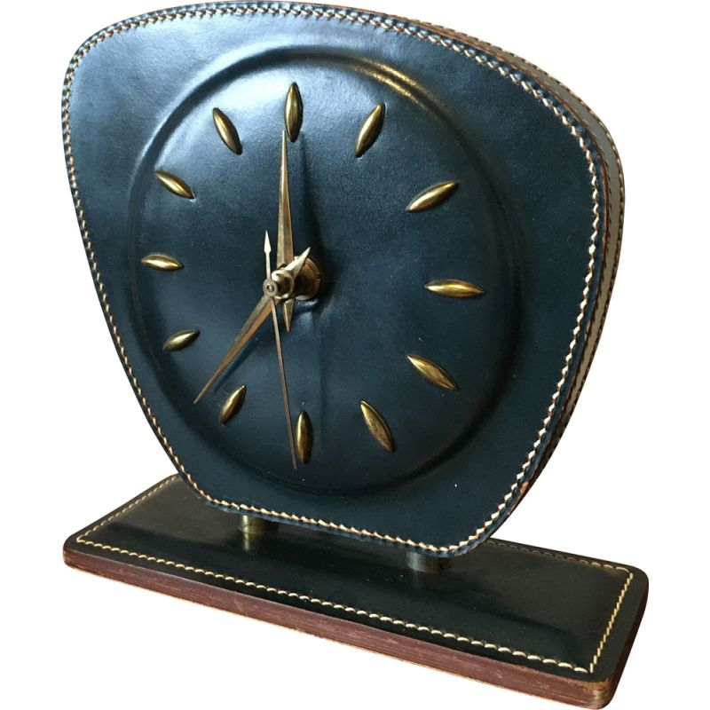 Table or Desk Clock Mid-Century Stitched Leather by Jacques Adnet 1950