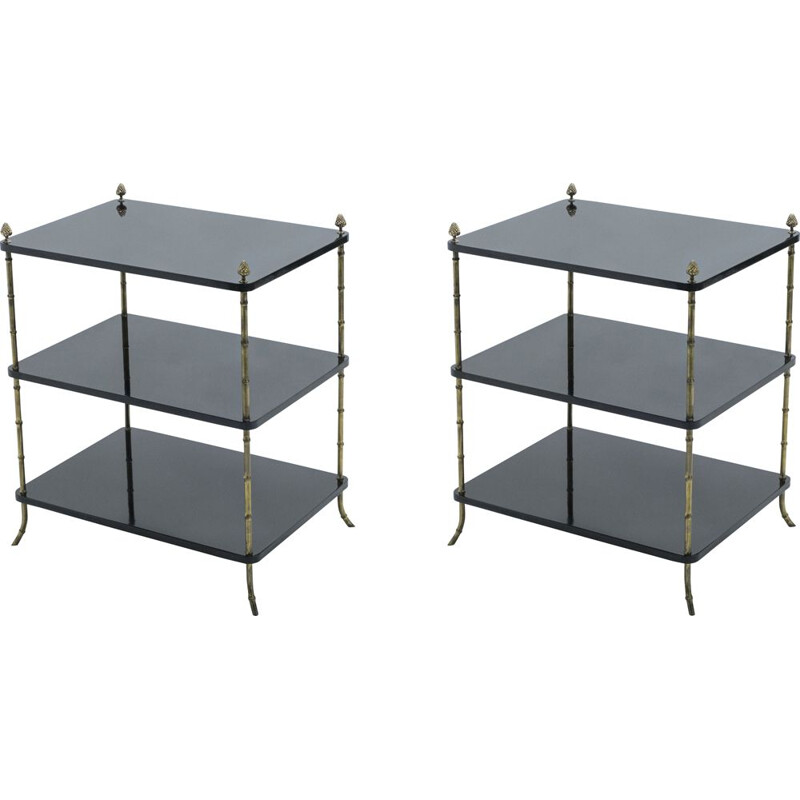 Pair of black lacquered and brass end tables by Maison Baguès 1950