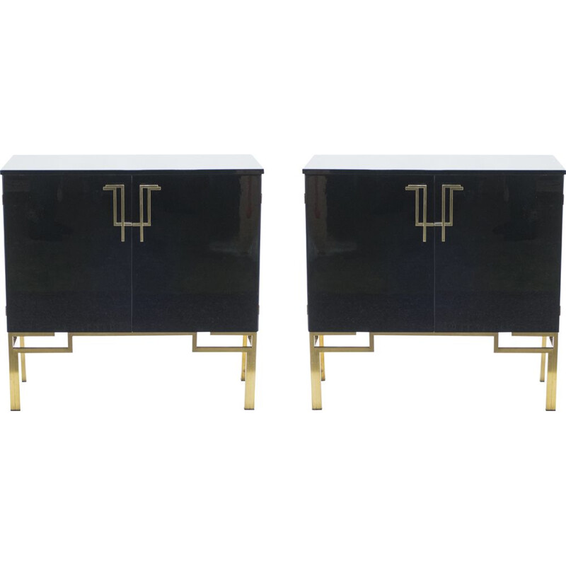 Pair of bar cabinets Guy Lefèvre brass lacquered vintage  for Maison Jansen 1970