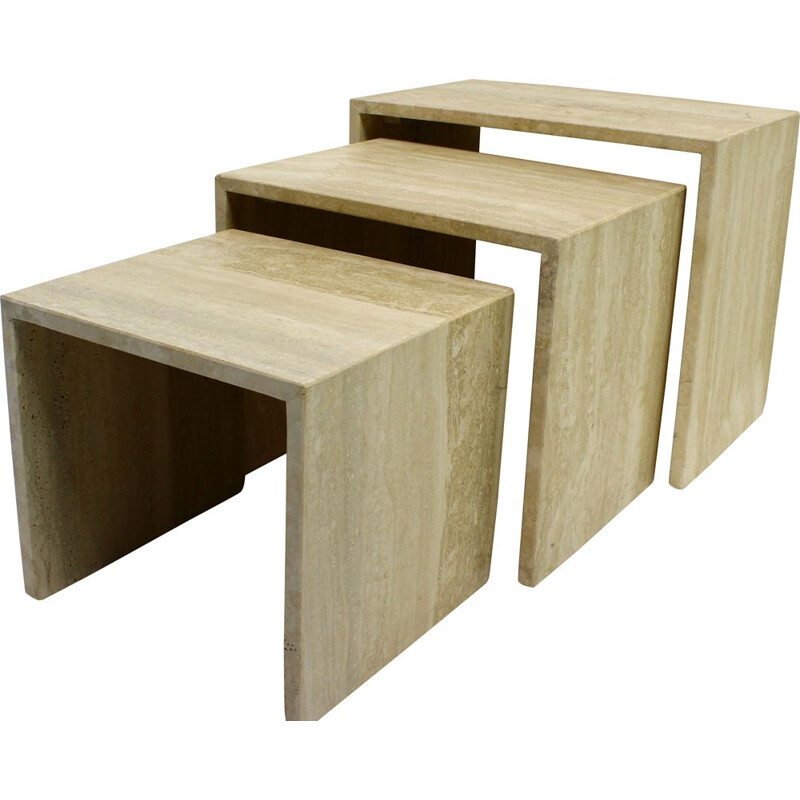 Vintage 1970 travertine nesting tables
