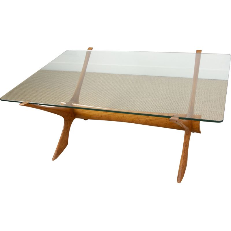 Vintage Danish coffee table in blond mahogany and glass by Illum Wikkelso 1960