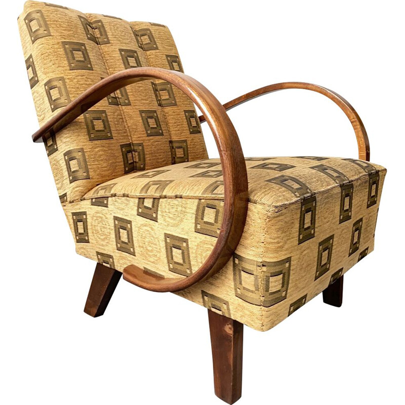 Armchair mid century by Jindrich Halabala for UP Zavody, Art Deco Reupholstered 1930s