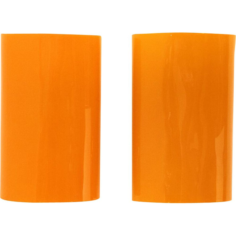 Pair of orange glass wall lamps by Alessandro Pianon for Vistosi, 1960s