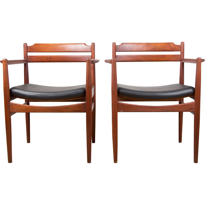 Pair of vintage Danish Teak and Skai armchairs by Poul Volther 1965