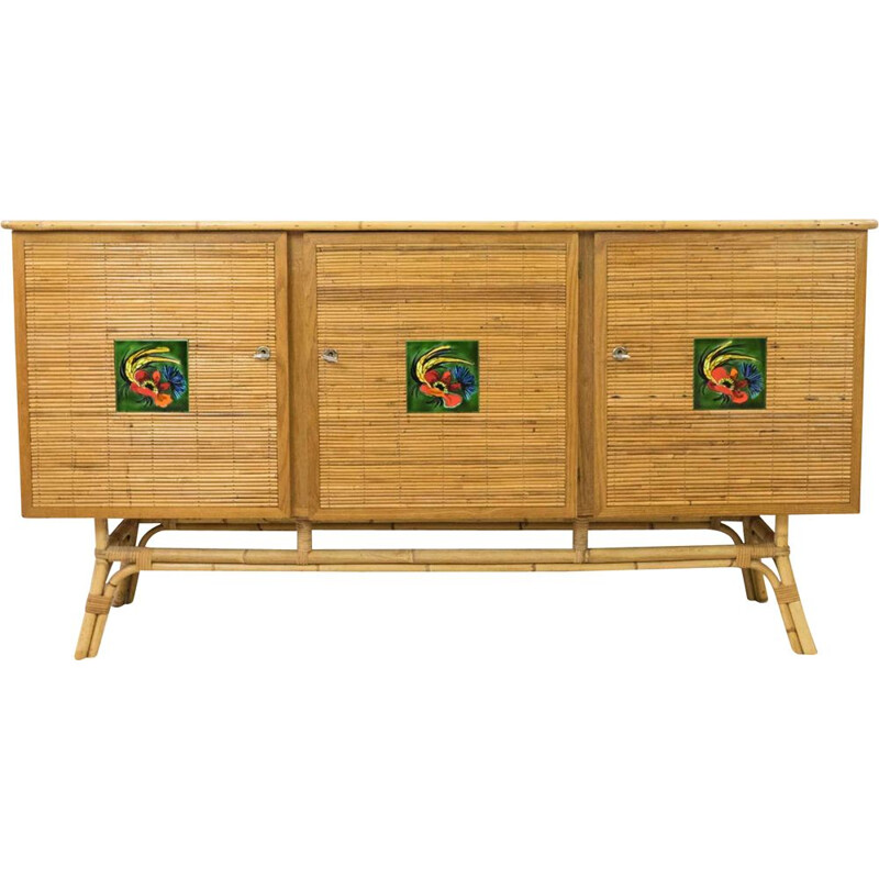 Vintage rattan sideboard, Vallauris checks, 1950