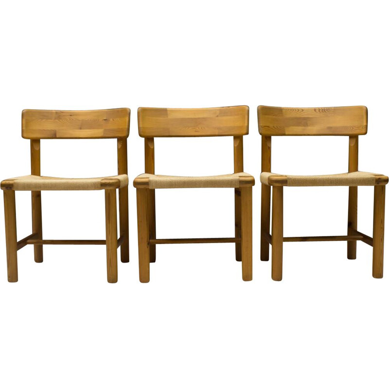 Set of 3 Scandinavian Wood Side Chairs, 1960s