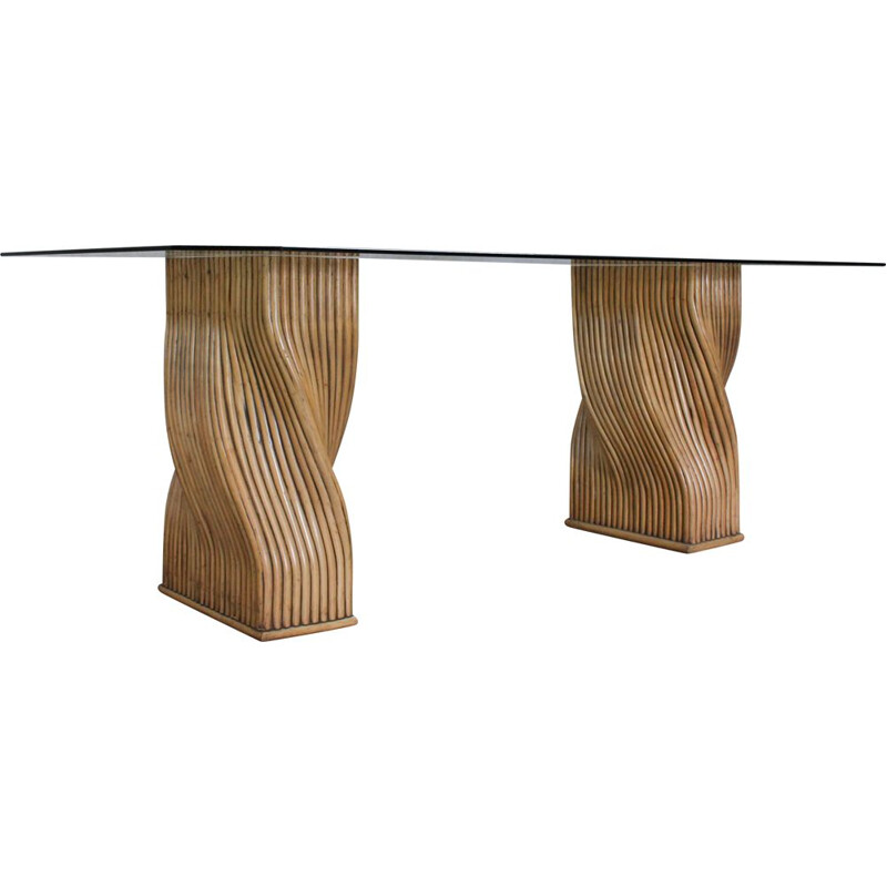 Vintage Glass and Bamboo Dining Table from Mcguire, 1970s