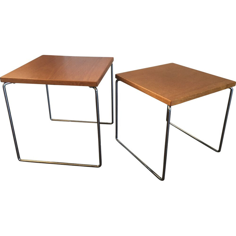 Teak and Steel Nesting vintage Tables from Brabantia, 1960s