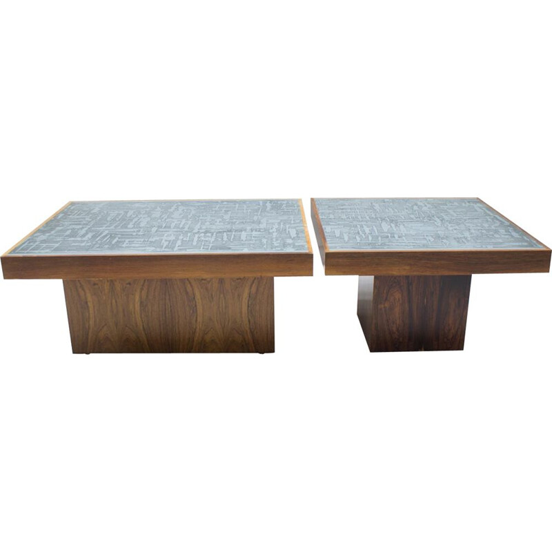 Pair of vintage square rosewood coffee tables by Heinz Lilienthal, 1960