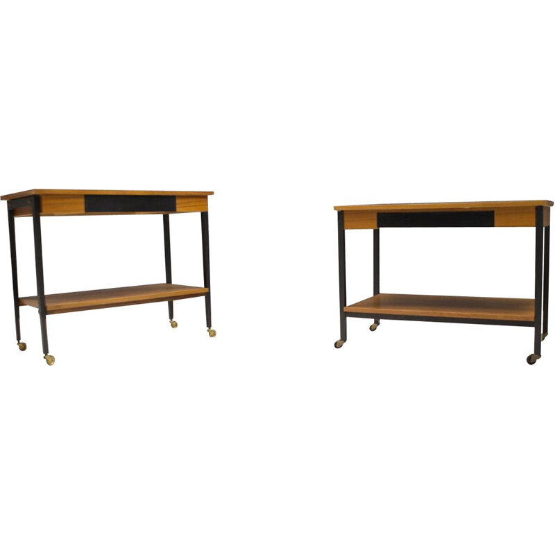 Pair of Walnut mid century Rolling Trolleys, 1960s