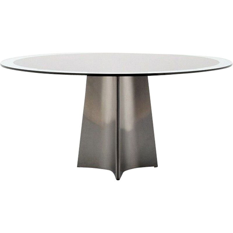 Vintage dining table in glass and brushed aluminium by Luigi Saccardo 1970