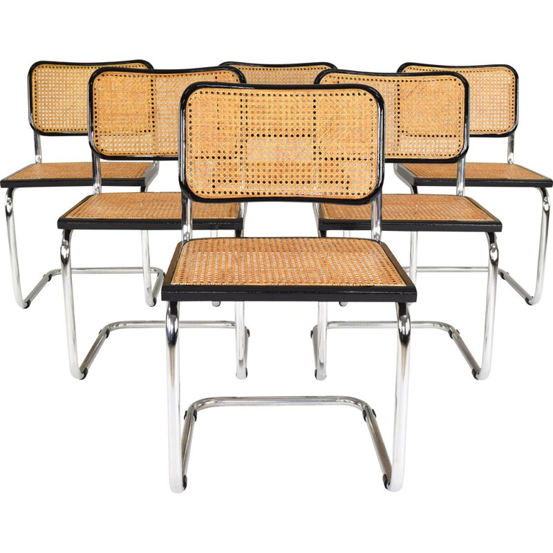 Set of 6 Mid-Century Modern Marcel Breuer B32 Cesca Chairs, Italy, 1970s