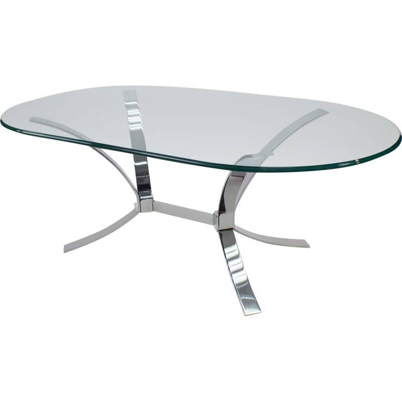 Chrome and Glass Space Age Coffee Table, 1960s
