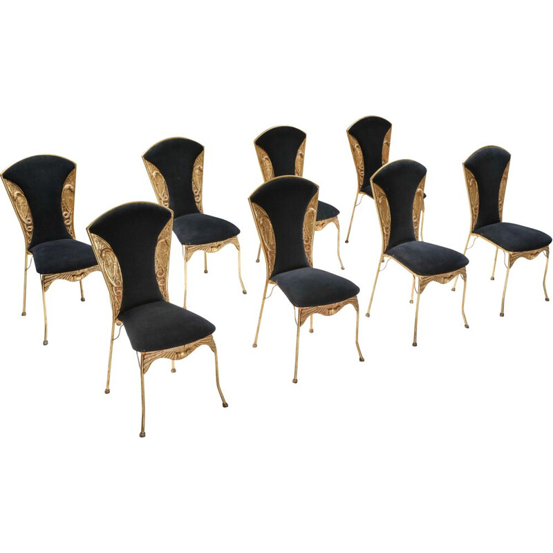 Gilt metal Cleopatra mid century dining chairs - 1970's