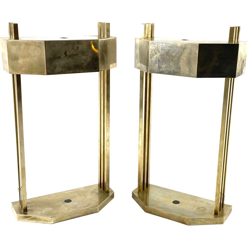 Pair of vintage cubist Bauhaus lamps for Paris Expo 1925