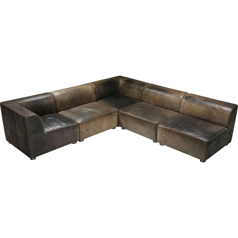 Sectional Corner Sofa in Patinated Leather, Durlet - 1980's