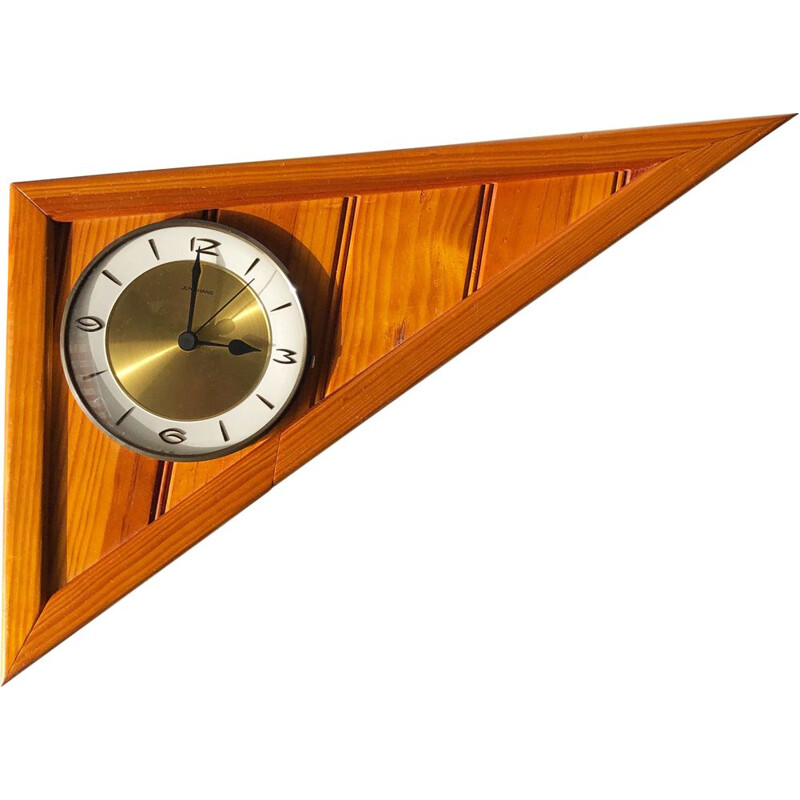 Large vintage wall clock wood, glass and brass Germany 1960