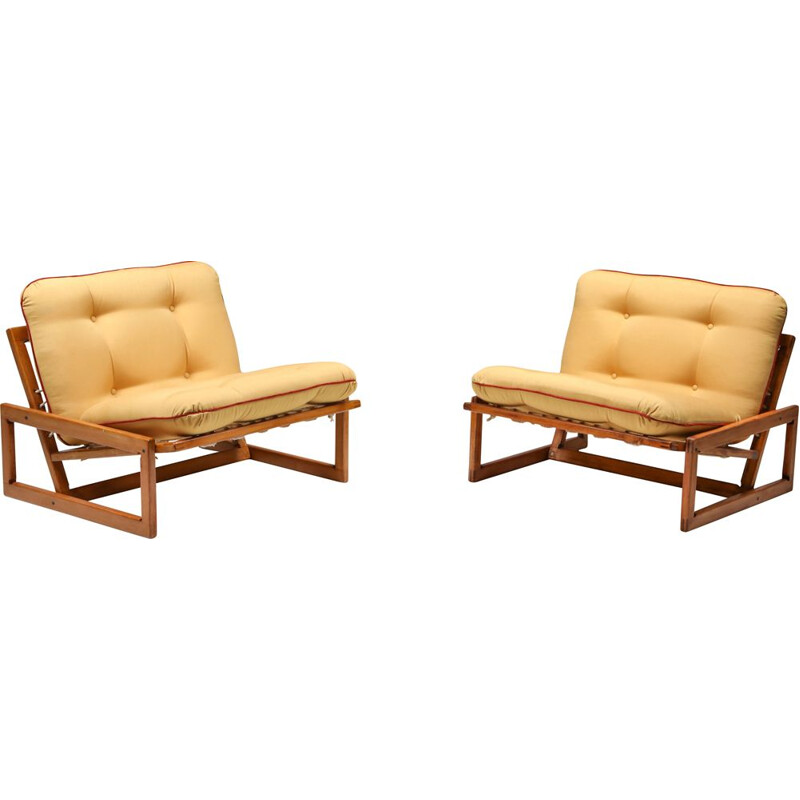 Vintage pair of lounge armchairs Cassina 'Carlotta' by Afra and Tobia Scarpa 1960