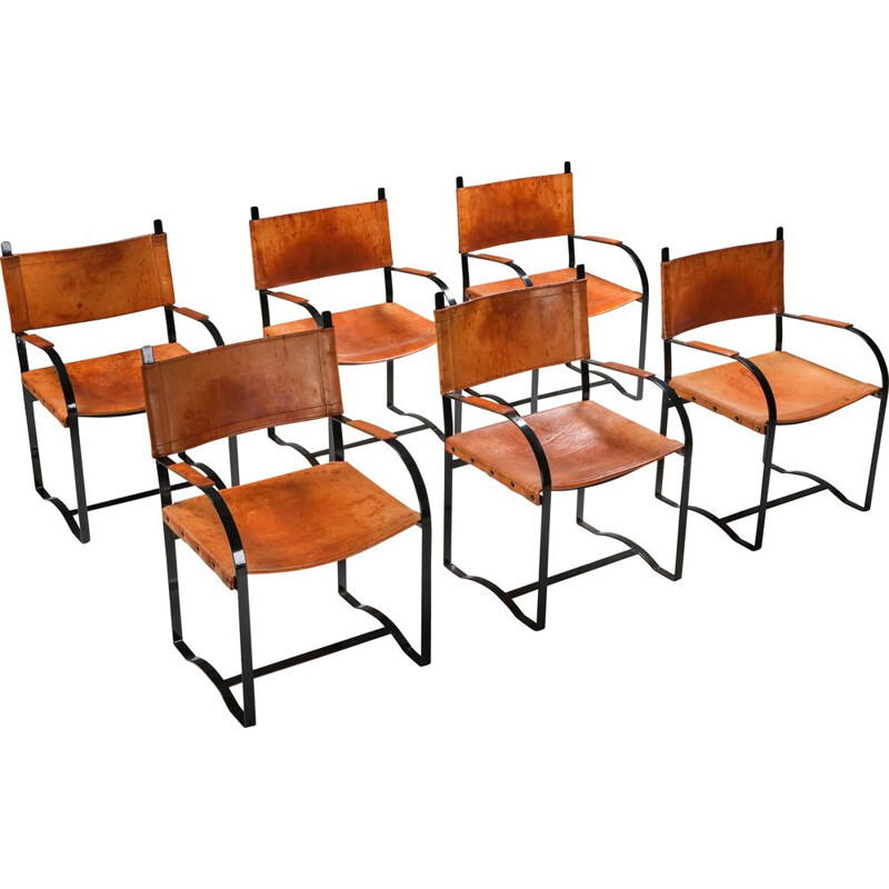 Set of 6 vintage leather armchairs Cognac Belgium 1960