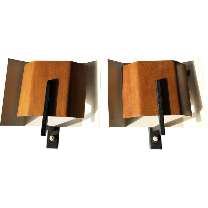 Pair of vintage modernist wall lights by Louis Kalff for Philips. Netherlands 1960