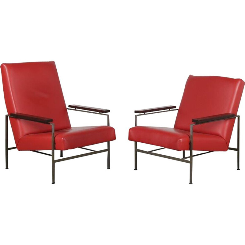 Pair of red leather lounge chairs mid century  by Rob Parry for Gelderland, Netherlands 1950s