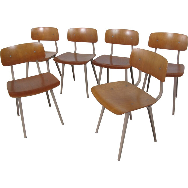 Set of 6 Vintage Industrial Metal and Wood Revolt Chairs by Friso Kramer for Ahrend De Cirkel, 1950s