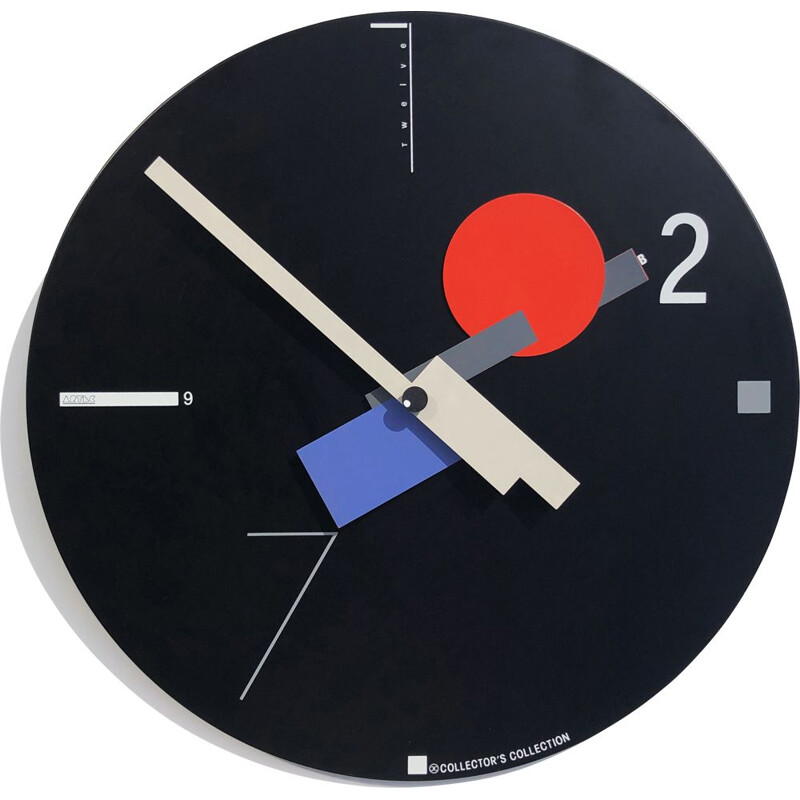 Large vintage constructivist wall clock by Nicolaï Canetti for Artec. USA Japan, 1980
