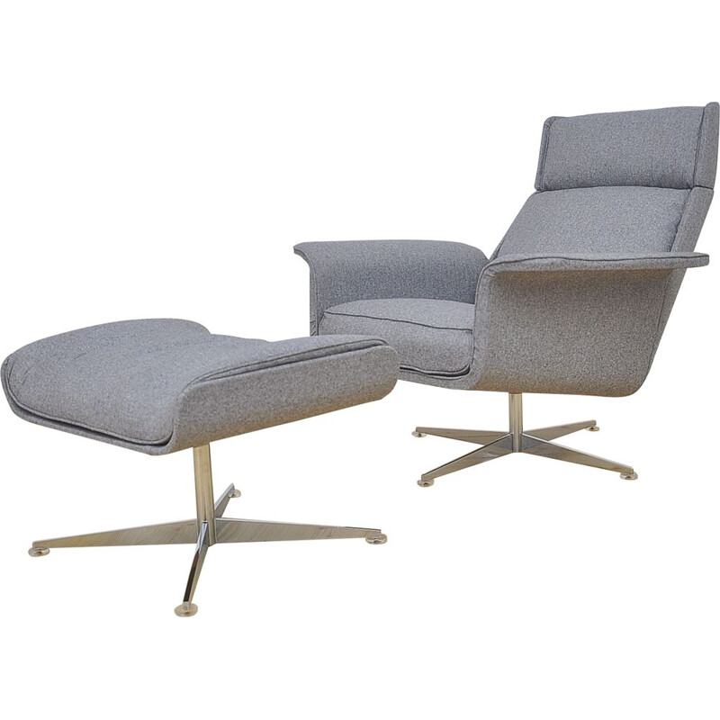 Lounge Chair mid century with Ottoman by Hans Kaufeld, 1960s