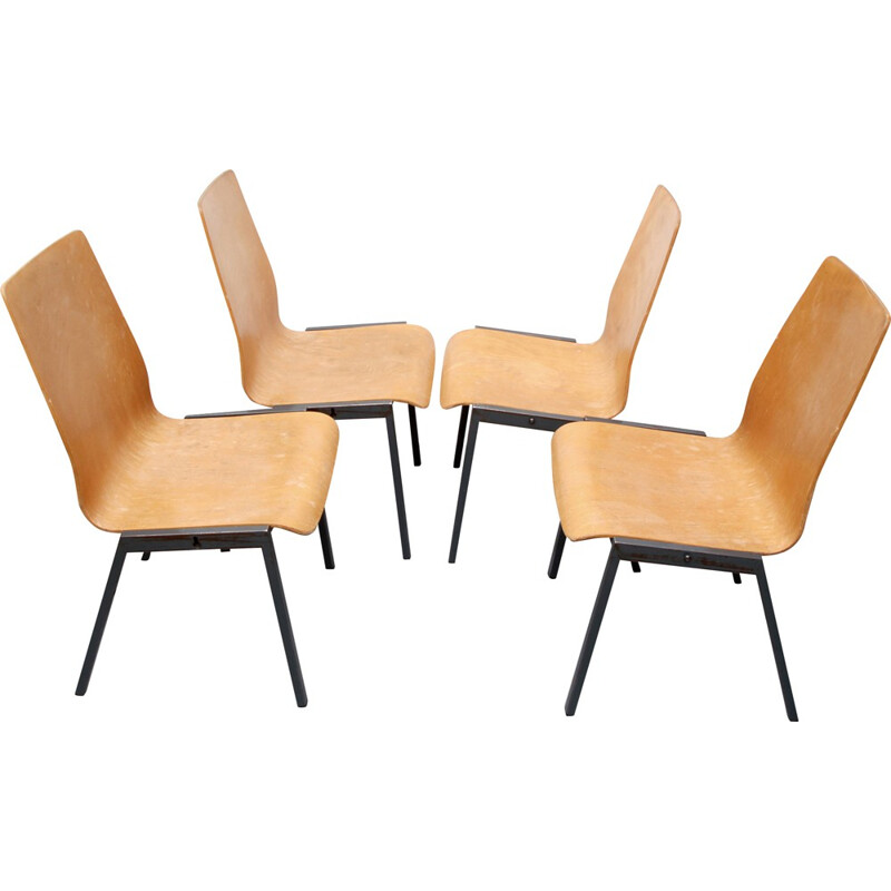 Set of 4 stackable chairs in metal and plywood - 1960s