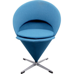 """Cone"" chair in blue fabric, Verner PANTON - 1960s"