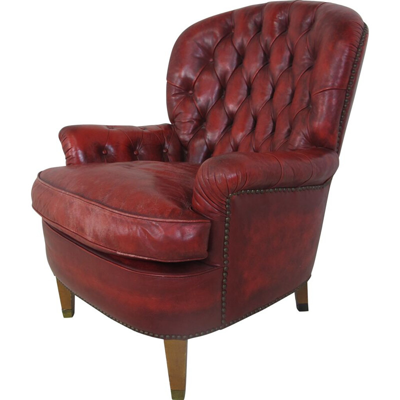 Lounge Chair Red Leather Chesterfield , 1970s