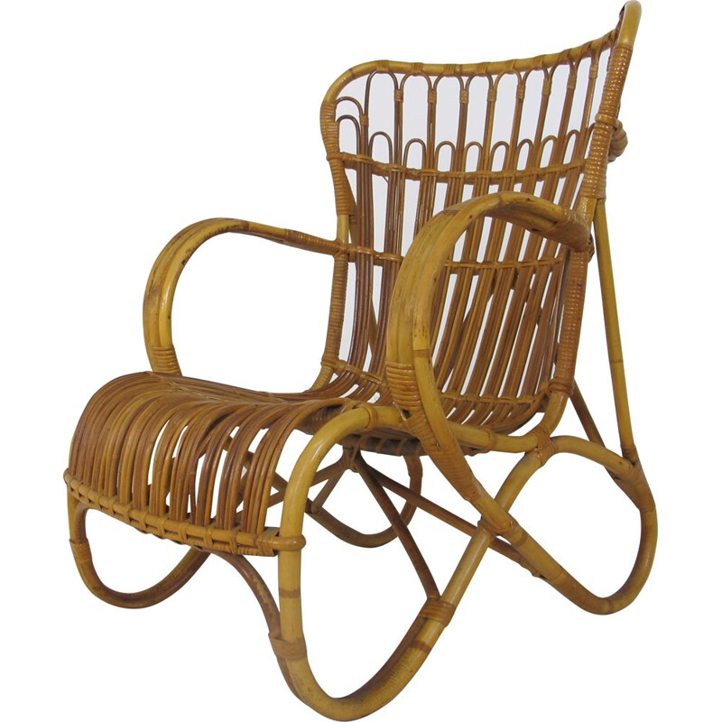 Vintage Rattan and Bamboo Easy Chair from Rohé Noordwolde, 1950s