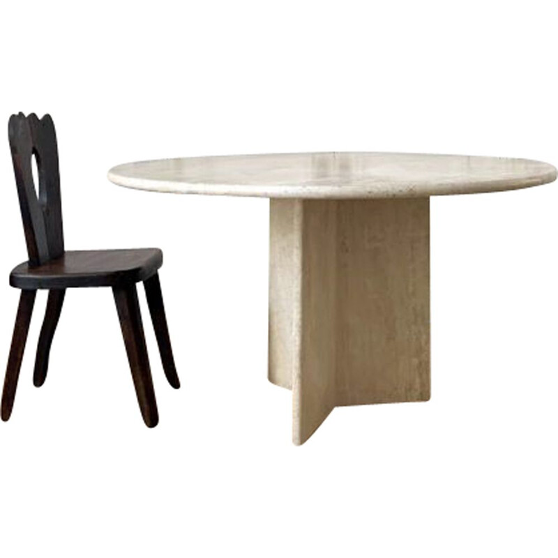 Dining Table vintage Round Travertine
