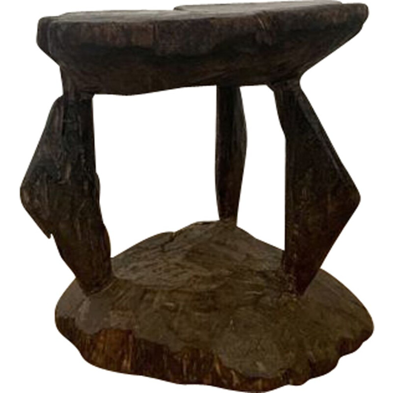 Side Table vintage Brutalist Hand Carved