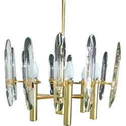 Set of 1 chandelier and 3 wall lamps in brass and crystal, Gaetano SCIOLARI - 1969