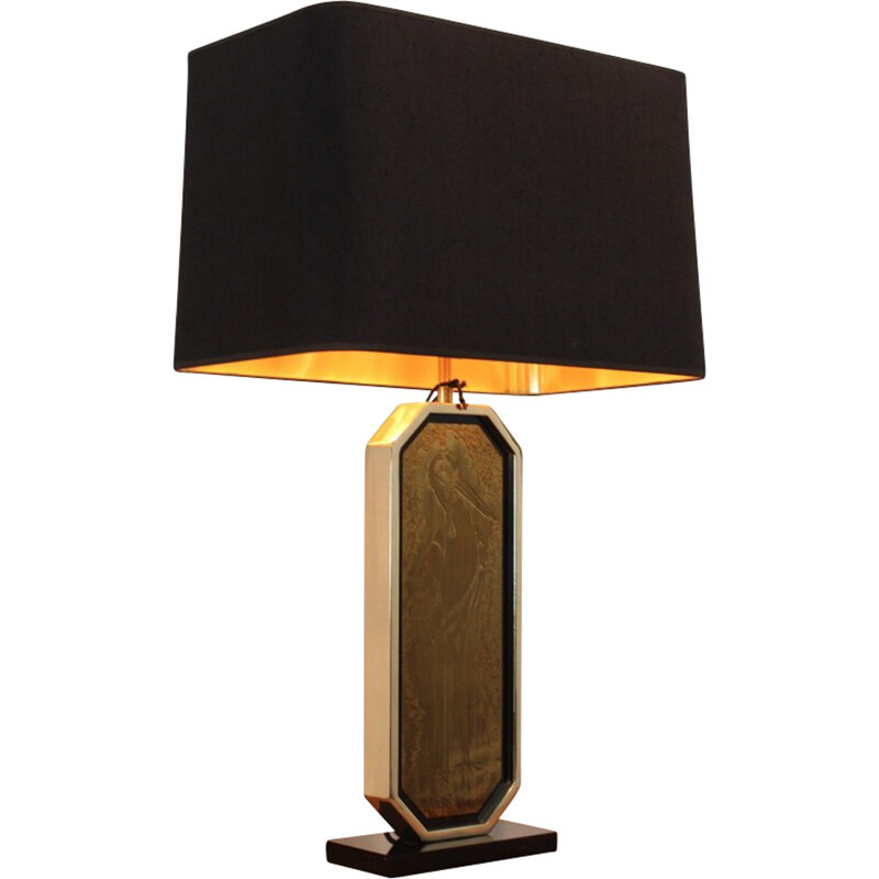 23 carat goldplated M2000 Design lamp, Georges MATHIAS - 1970s