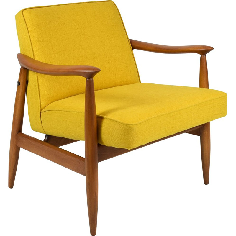 Armchair mid century by E. Homa for Gościńska Furniture Factory, Poland, yellow 1960s