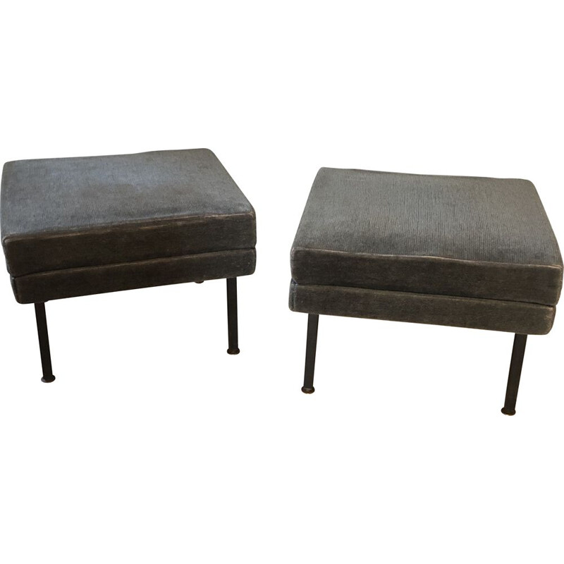 Pair of large vintage pouffes or stools 1950's