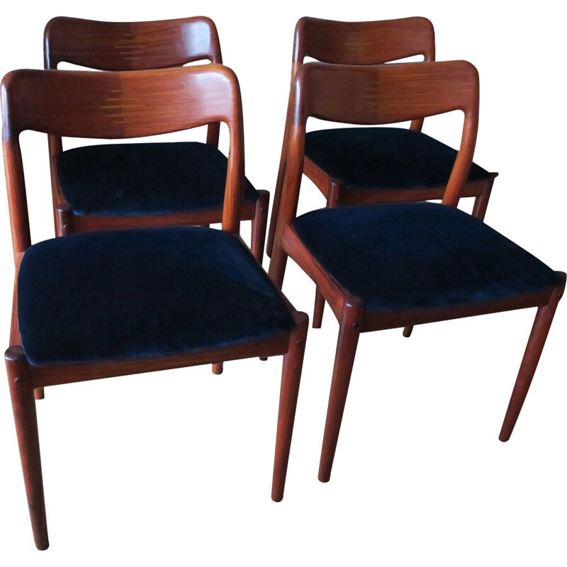 Set of 4 Velvet Dining Chairs Johannes Andersen Solid Rosewood and Blue 1960s