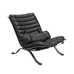 """Arne Norell mobel AB """"Ari"""" lounge chair in leather and steel, Arne NORELL - 1960s"""