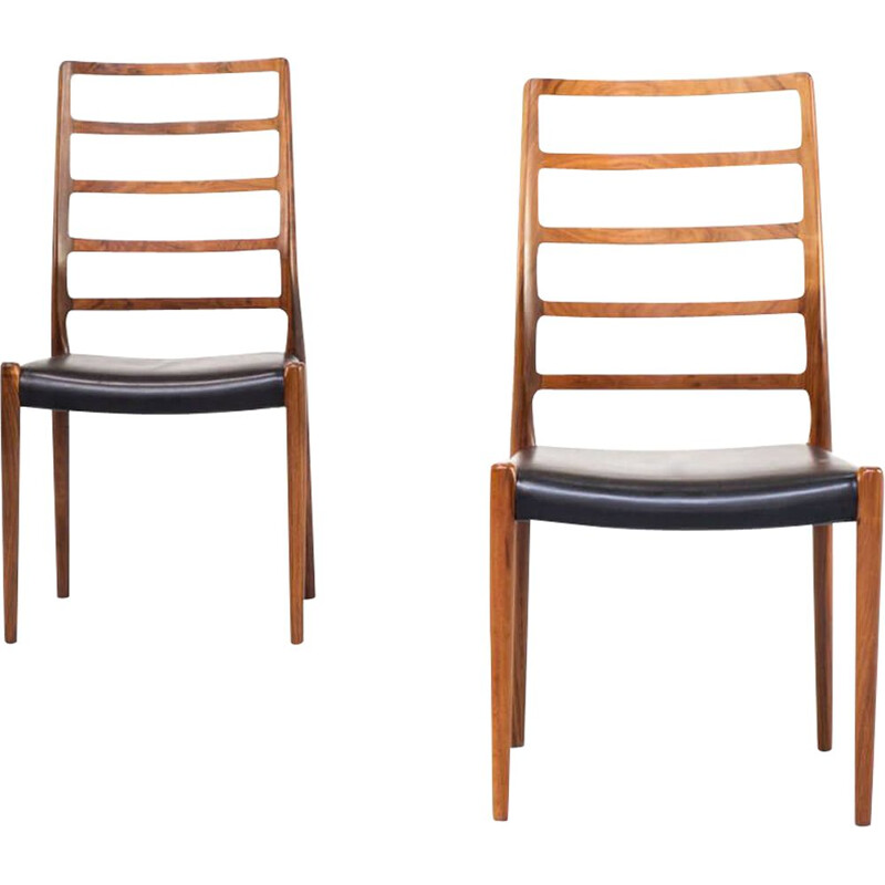 Chair model 82  teak and black Moller created 1970s