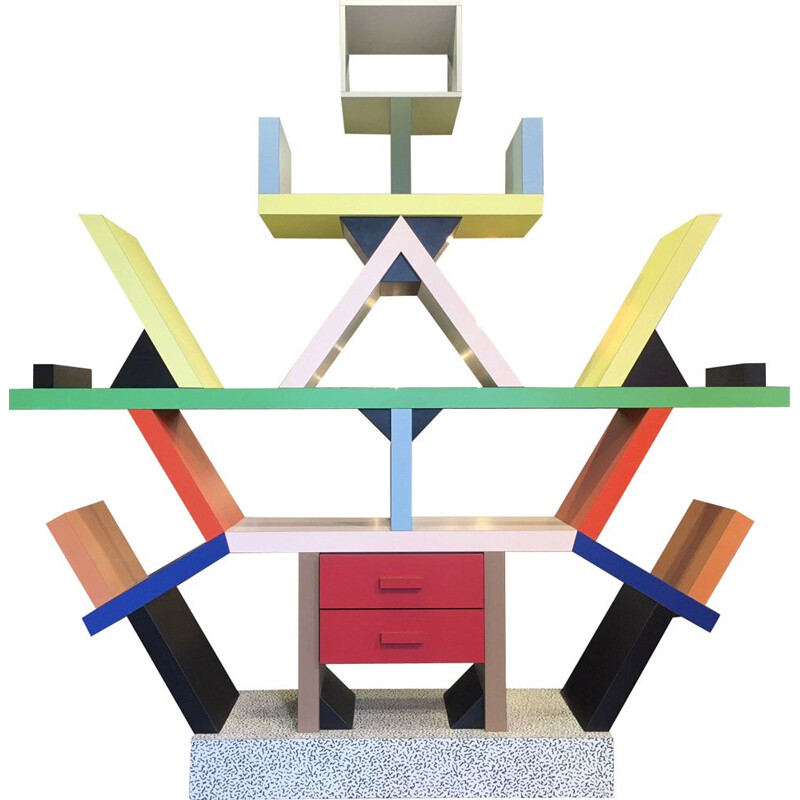 Vintage Carlton bookcase by Ettore Sotsass for Memphis Milano 1980