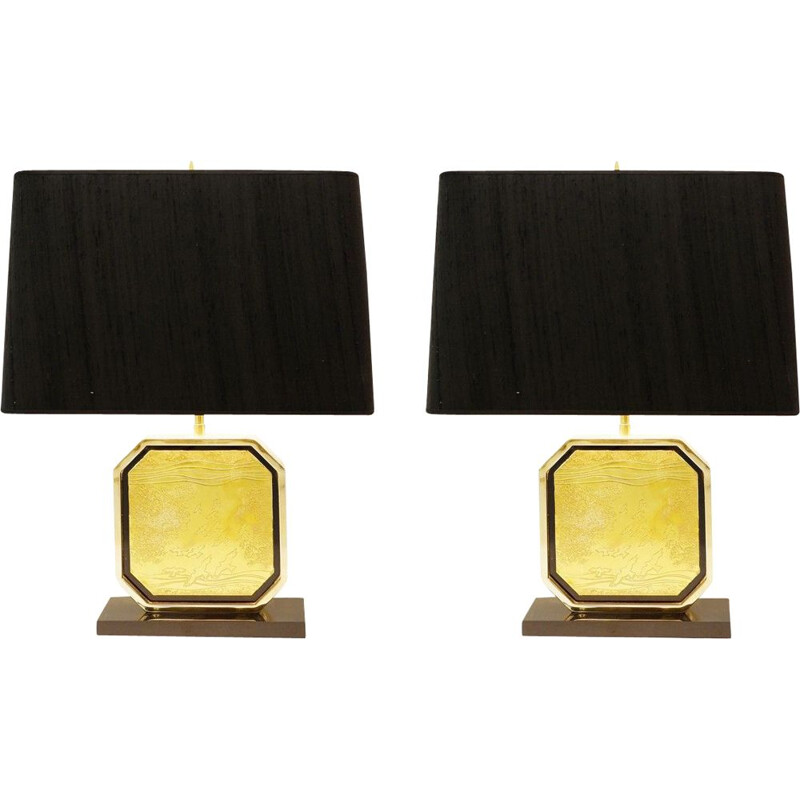Pair of vintage table lamps in 'Maho' 24 carats 1970