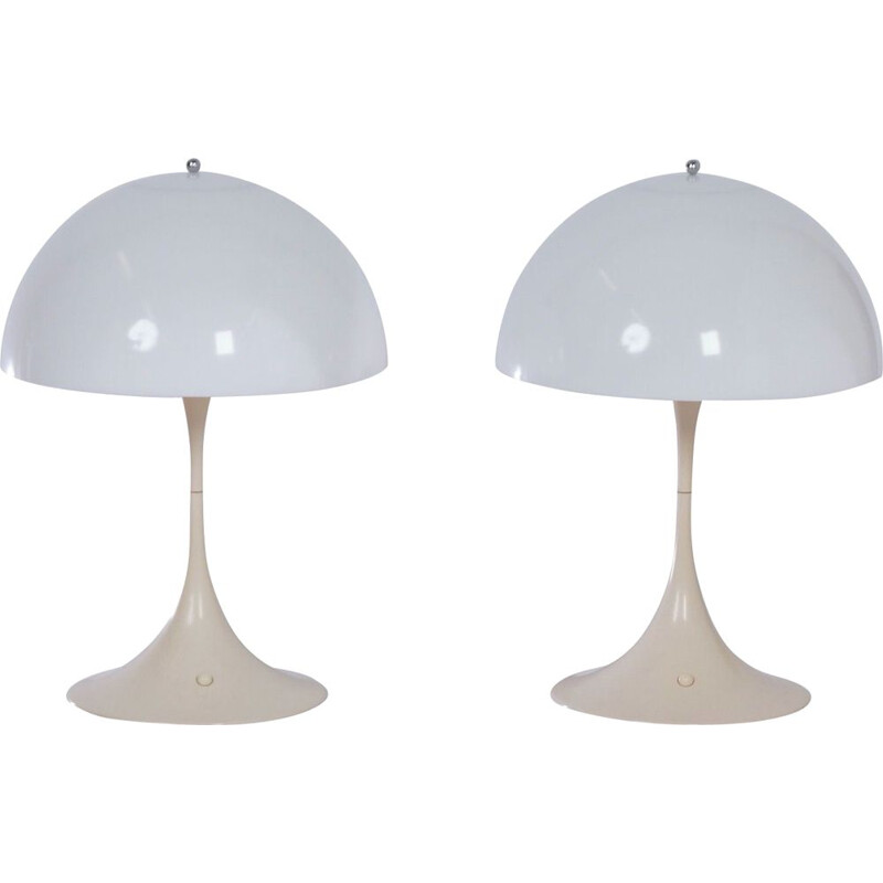 Pair of Table Lamps Panthella by Verner Panton for Louis Poulsen, 1e Edition 1970s