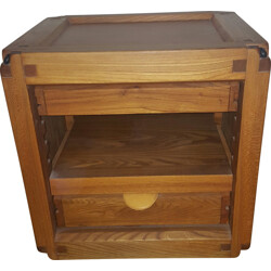 Side / bedside table in elm with 2 drawers, Pierre CHAPO - 1950s