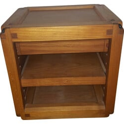 Bedside or side table in elmwood with 1 drawer, Pierre CHAPO - 1950s