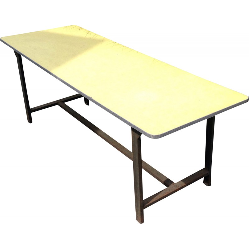 Big Industrial Table In Iron And Yellow Formica 1960s Design Market