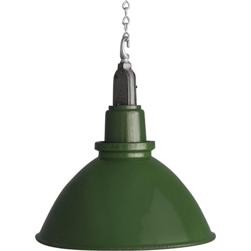 Green industrial Mazdalux pendant lighting in lacquered steel - 1950s