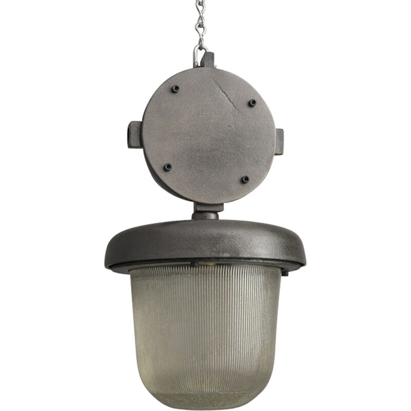 Industrial hanging lamp in steel and glass - 1950s